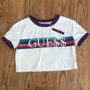 Guess Tops - ASAP Rocky Guess Purple Crop Top XS